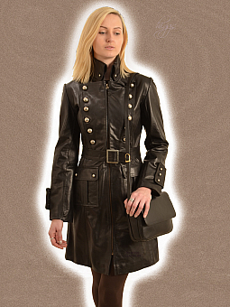 Higgs Leathers ALL SOLD!SAVE £100!  La Colonel (ladies Black Leather military coat)
